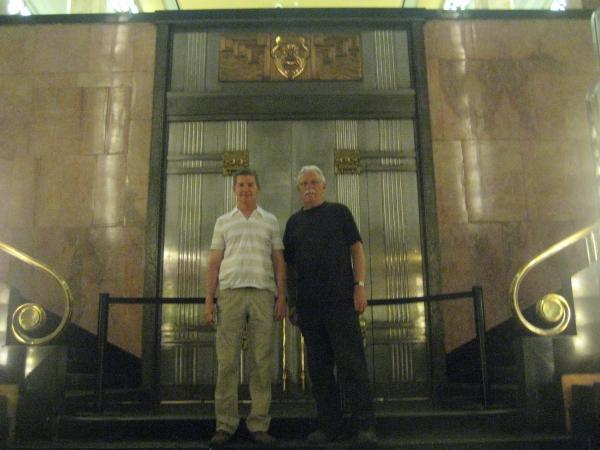 Cal & Steve inside the art deco lobby of the Palace of Fine Arts