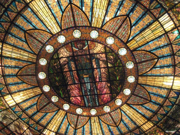 Stained glass ceiling window inside theatre at Palace of Fine Arts, Mexico City