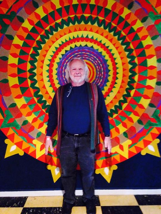 Fellow pilgrim Franklin Abbott in front of one of Martin's eye-popping mandalas.