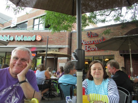 Lunching at a restaurant across the street from the campus of Michigan State University