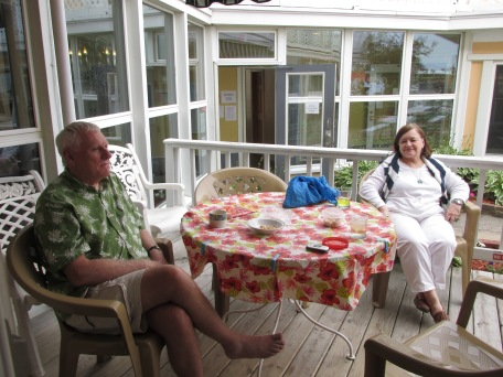 Nancy and Cal relaxing at our motel at Lake Michigan