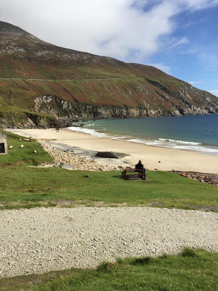 cal-sitting-near-beach-on-achill-island