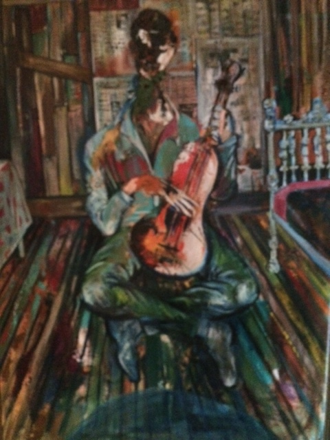 flander's guitar man painting