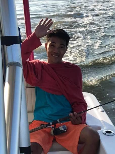 Jay Pee in boat