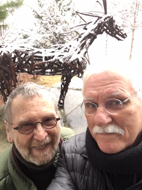 Cal and Randy in snow at Tiffany exibit February 2020